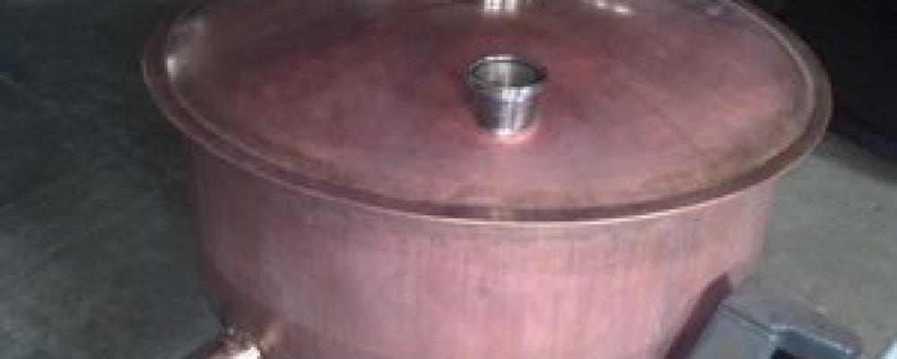 Výroba nového Cu kotle 600 lt + oprava víka